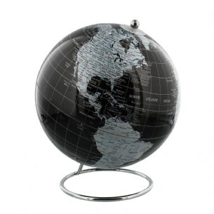 Contemporary Black Globe with Silver Metal Base 20cm